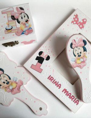 Set mot Baby Minnie Mouse, 7 piese, personalizat, din lemn, cu fundite roz, ornamente multicolore DSPH012