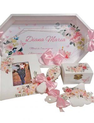 Set mot cu flori, 7 piese, personalizat, din lemn, cu fundite roz si ornamente multicolore DSPH002