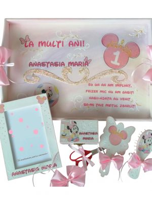 Set mot Cap Minnie Mouse, 7 piese, personalizat, din lemn, cu fundite roz, ornamente roz DSPH013