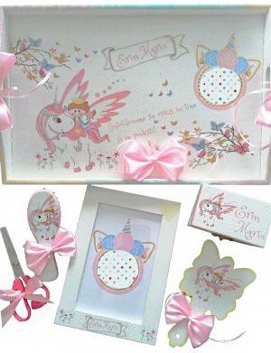 Set mot Unicorn, 7 piese, personalizat, din lemn, cu fundite roz, ornamente multicolore DSPH014