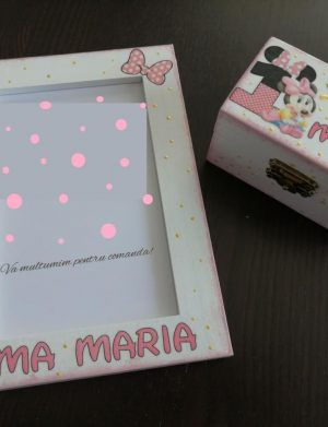 Set mot Baby Minnie Mouse, 7 piese, personalizat, din lemn, cu fundite roz, ornamente roz DSPH016