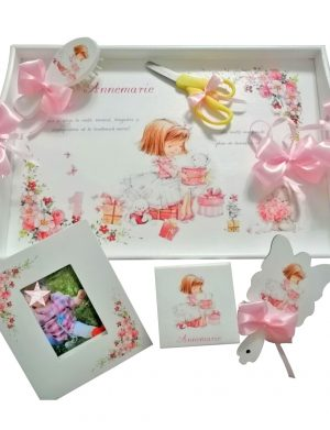 Set mot Fetita, 7 piese, personalizat, din lemn, cu fundite roz, ornamente multicolore DSPH009