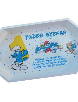 Set mot Strumfi, 7 piese, personalizat, din lemn, cu fundite albastre si ornamente multicolore DSPH003