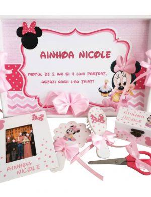 Set mot Baby Minnie Mouse, 7 piese, personalizat, din lemn, cu fundite roz, ornamente roz cu rosu DSPH007