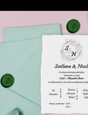 Invitatie nunta cu sigiliu OPIS009
