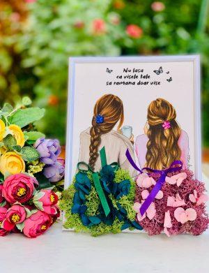 Tablou Best Friend cu Licheni si Flori Criogenate