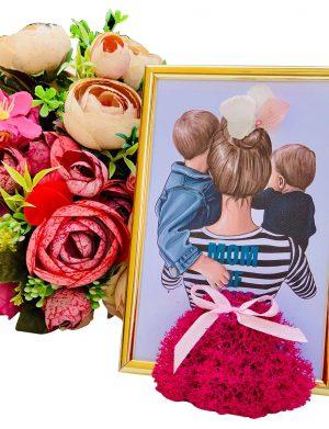 Tablou Mama cu 2 baieti, 15×10 cm, YODB168