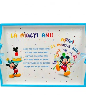 Set Tavita Mot (turta), Baby Mickey, aniversare 1 an, 7 piese, personalizat, DSPH1632