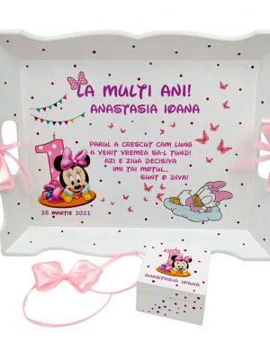 Set Tavita Mot (turta), Baby Minnie, aniversare 1 an, 2 piese, personalizat, DSPH1627