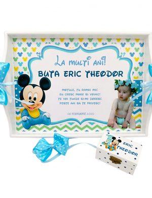 Set Tavita Mot (turta), Baby Mickey, aniversare 1 an, 2 piese, personalizat, DSPH1629