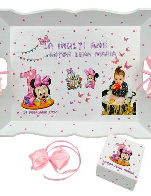 Set Tavita Mot (turta), Baby Minnie, aniversare 1 an, 2 piese, personalizat, DSPH1630