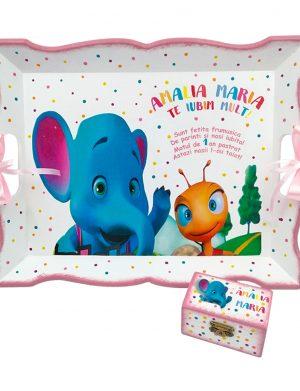 Set Tavita Mot (turta), Elefantul si Furnicuta, aniversare 1 an, 2 piese, personalizat, DSPH1624
