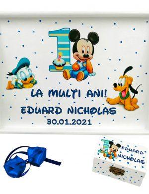 Set Tavita Mot (turta), Baby Mickey si Donald, aniversare 1 an, 2 piese, personalizat, DSPH1628