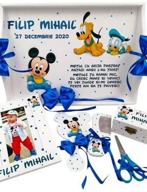 Set Tavita Mot (turta), Baby Mickey si Pluto, aniversare 1 an, 7 piese, personalizat, DSPH1633
