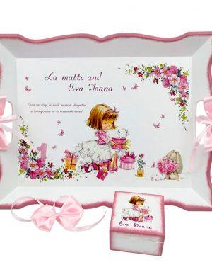 Set Tavita Mot (turta), fetita, aniversare 1 an, 2 piese, personalizat, DSPH1625