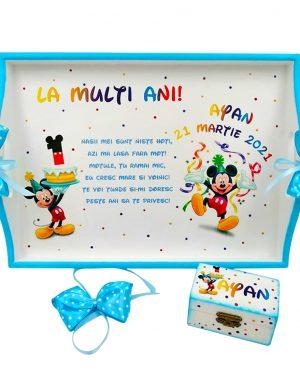 Set Tavita Mot (turta), Baby Mickey, aniversare 1 an, 2 piese, personalizat, DSPH1626