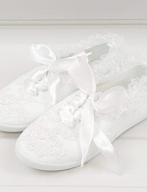 Tenisi pentru mireasa cu dantela si margelute, albi- ARBC1101