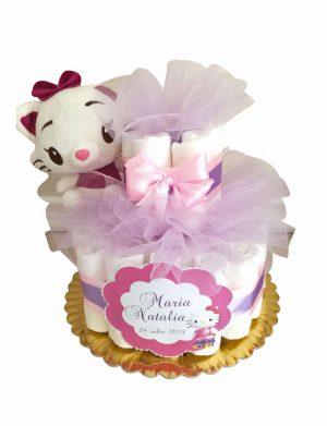 Tort Scutece cu 1 etaj, mascota pisicuta si mesaj personalizat, DSPH001