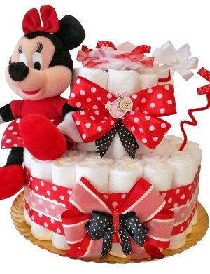 Tort scutece cu 1 etaj, mascota Minnie si mesaj personalizat, DSPH006