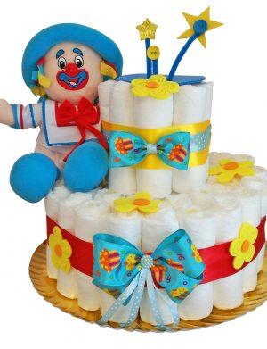 Tort Scutece cu 1 etaj, cu mascota si mesaj personalizat, DSPH008