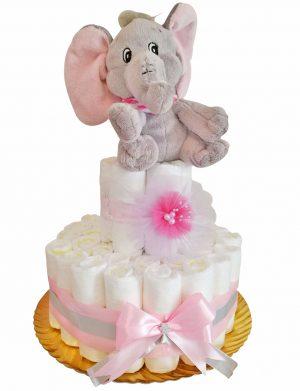 Tort Scutece cu 1 etaj, mascota elefant si mesaj personalizat, DSPH004