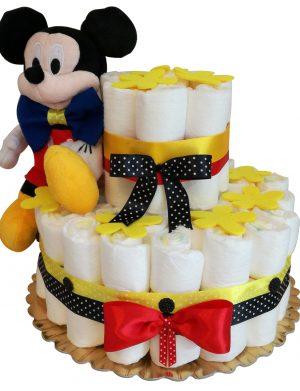 Tort Scutece cu 1 etaj, mascota Mikey cu papion si mesaj personalizat, DSPH003