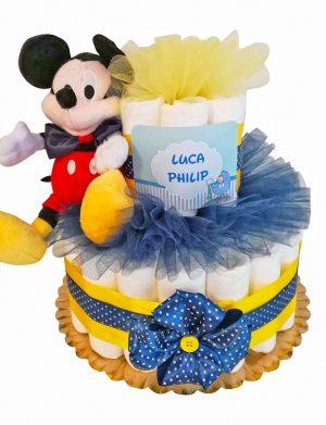 Tort Scutece cu 1 etaj, mascota Mikey si mesaj personalizat, DSPH002