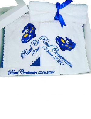 Trusou botez Masinuta Albastra format din 7 piese, personalizat – AAPH004