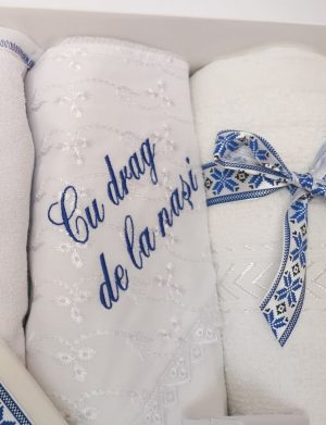 Trusou botez model Traditional, albastru, 8 piese, nepersonalizat – ILIF1815