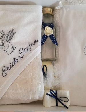 Trusou botez bleumarin, 7 piese, personalizat cu numele copilului, DSPH309