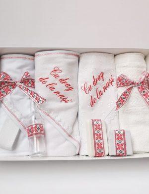 Trusou botez model Traditional, rosu, 8 piese, nepersonalizat – ILIF1816