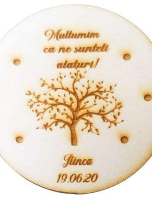 Marturie copac, din lemn, personalizata, maro OMIS010