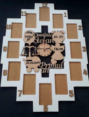Rama personalizata, cu 12 cadre si ceas, FEIS1641