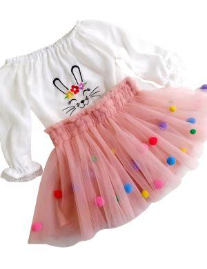Set bluzita brodata si fusta din tulle, pentru copii, ACD167