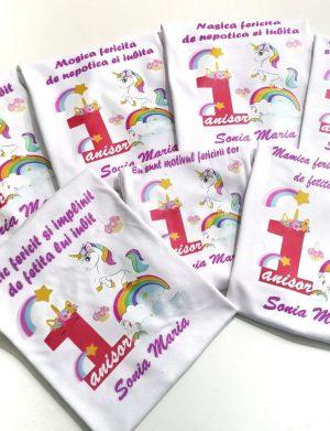Set 6 tricouri plus 1 body personalizate, pentru familie, aniversare 1 an copil, ACD1616