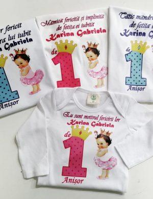 Set 3 tricouri plus 1 body personalizate, pentru familie, aniversare 1 an copil, ACD1614