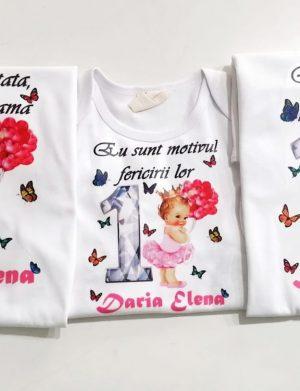 Set 2 tricouri plus 1 body personalizate, pentru familie, aniversare 1 an copil, ACD1615