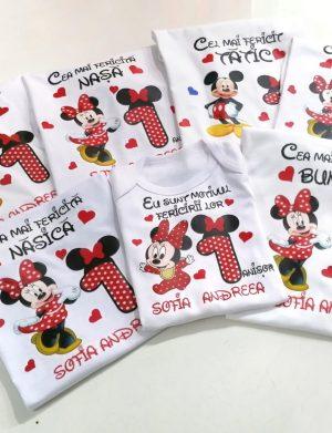 Set 6 tricouri plus 1 body personalizate, pentru familie, aniversare 1 an copil, ACD1611