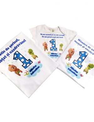 Set 2 tricouri plus 1 body personalizate, pentru familie, aniversare 1 an copil, ACD1620