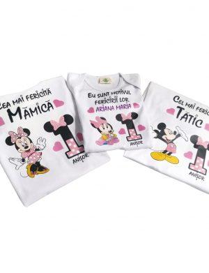 Set 2 tricouri plus 1 body personalizate, pentru familie, aniversare 1 an copil, ACD1622