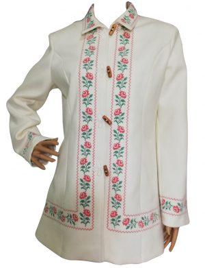 Pardesiu dama din stofa, scurt, croit in Romania, culoare alb, brodat – LLDJ10132