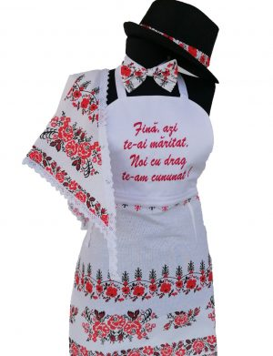 Set dezgatit mireasa 5 piese, model alb cu motive traditionale, palarie neagra si marama, ODIS161