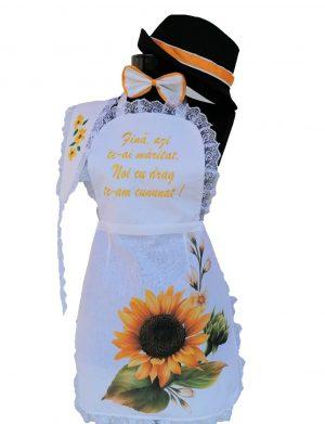 Set dezgatit mireasa 5 piese, model alb cu floarea-soarelui, palarie neagra si bentita, ODIS166