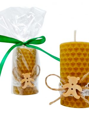 Marturie nunta sau botez, lumanare din ceara de albine cu ursulet, DSPH1667