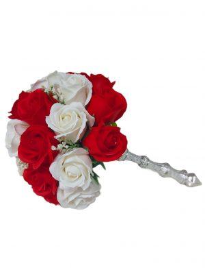 Buchet trandafiri albi si rosii de sapun , ARBC1616