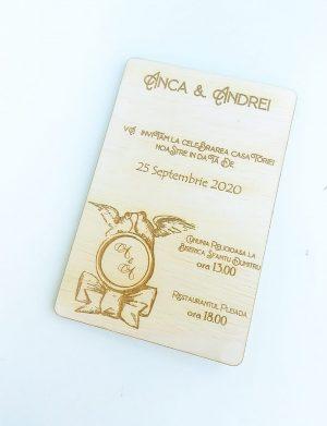 Invitatie nunta din lemn, gravata laser, 10×15 cm, (mostra), SOMIS164