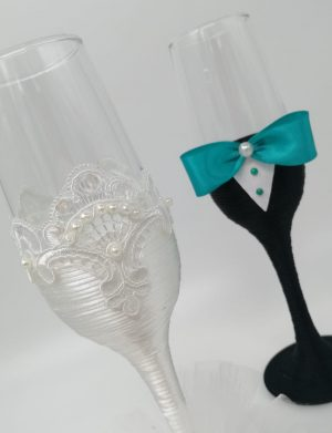 Set 2 pahare decorate pentru miri sau nasi, DSPH172