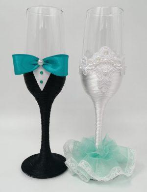 Set 2 pahare decorate pentru miri sau nasi, DSPH1639