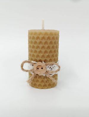 Marturie nunta sau botez nepersonalizata, Nasturas, lumanare din ceara de albine, livrare 48h, DSPH176