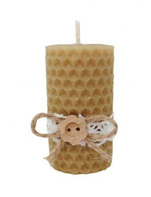 Marturie botez nepersonalizata (mostra), lumanare din ceara de albine, nasturas, livrare 48h, SDSPH176